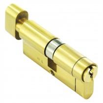 --- :: Euro Cylinder Lock 37/37 (74mm), Thumbturn, Brass, Anti-Drill, Pick, Plug, Bump With 3 keys, 37/37 (74mm), Brass