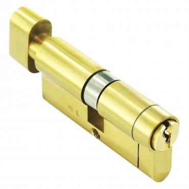 --- :: Euro Cylinder Lock 40/40 (80mm), Thumbturn, Brass, Anti-Drill, Pick, Plug, Bump With 3 keys, 40/40 (80mm), Brass
