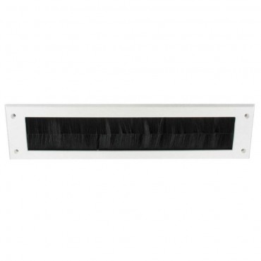 --- :: Letter Box Cover With Draught Exluder Brushes, 330mm, White, 330mm, White With Black Brush